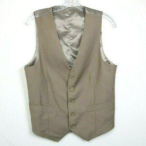 Vinci Mens Suit Vest Sleeveless Buttons Pockets